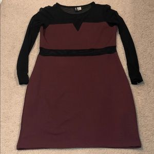 DIVIDED maroon dress with see through arms & mid